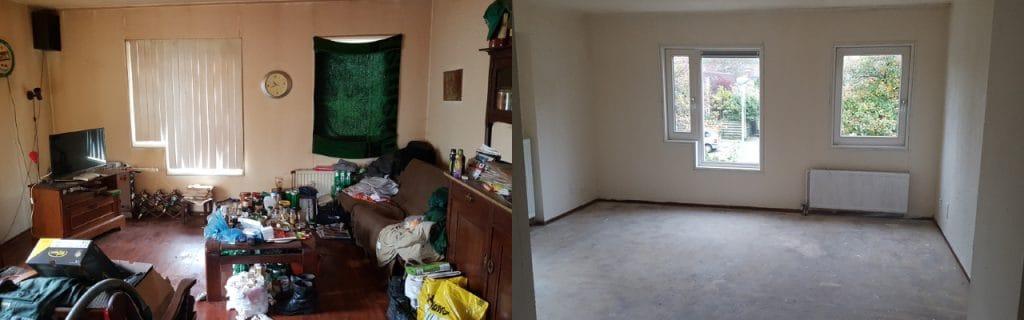 Voor en na woningontruiming
